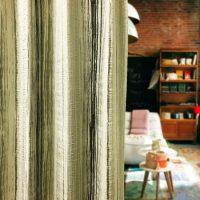 14276|ネイビー&シルバーグレーのストライププレミアムカーテン