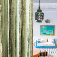 14277|グリーン&ブラウンのストライププレミアムカーテン