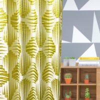 14290|アイボリー&イエローの幾何学模様プレミアムカーテン