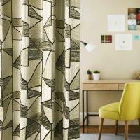 14292|グレー系ステンドグラス風プレミアムカーテン