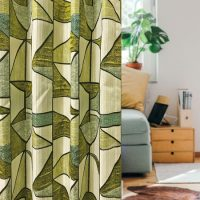 14293|グリーン系ステンドグラス風プレミアムカーテン